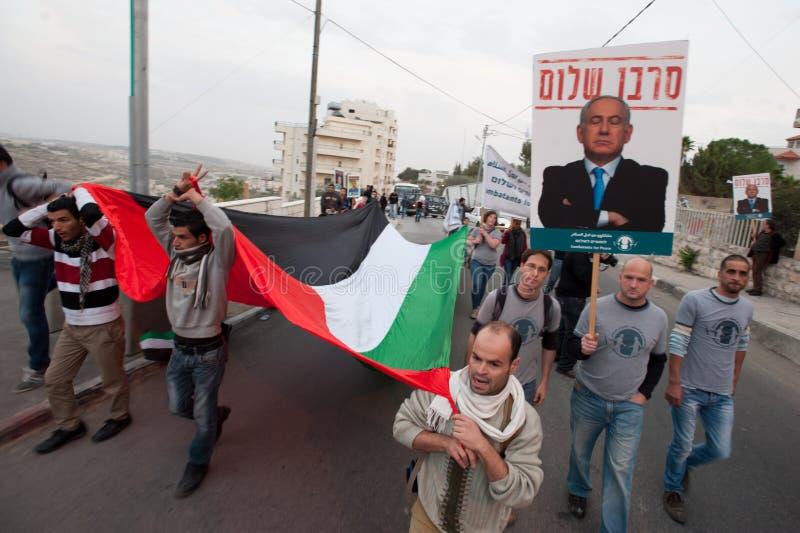 Palestinier- och israelprotestGaza attacker fotografering för bildbyråer