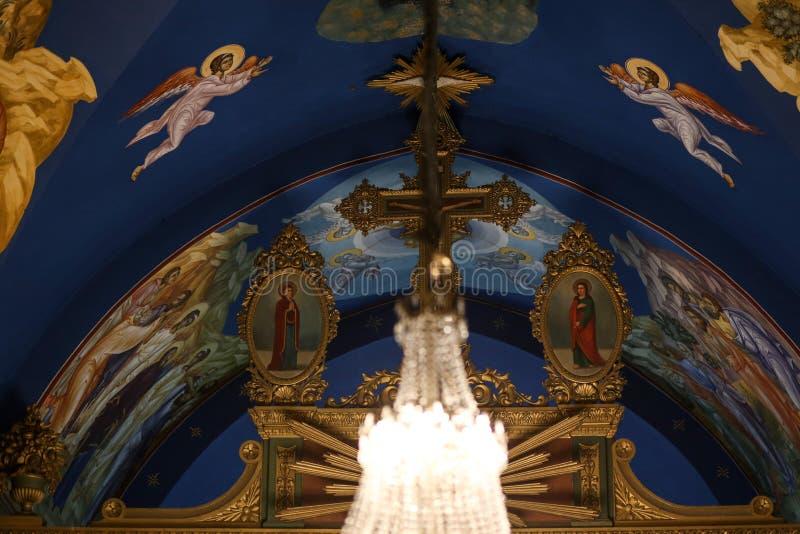 Palestinska kristen på kyrkan för St Porphyrius i Gaza royaltyfri bild