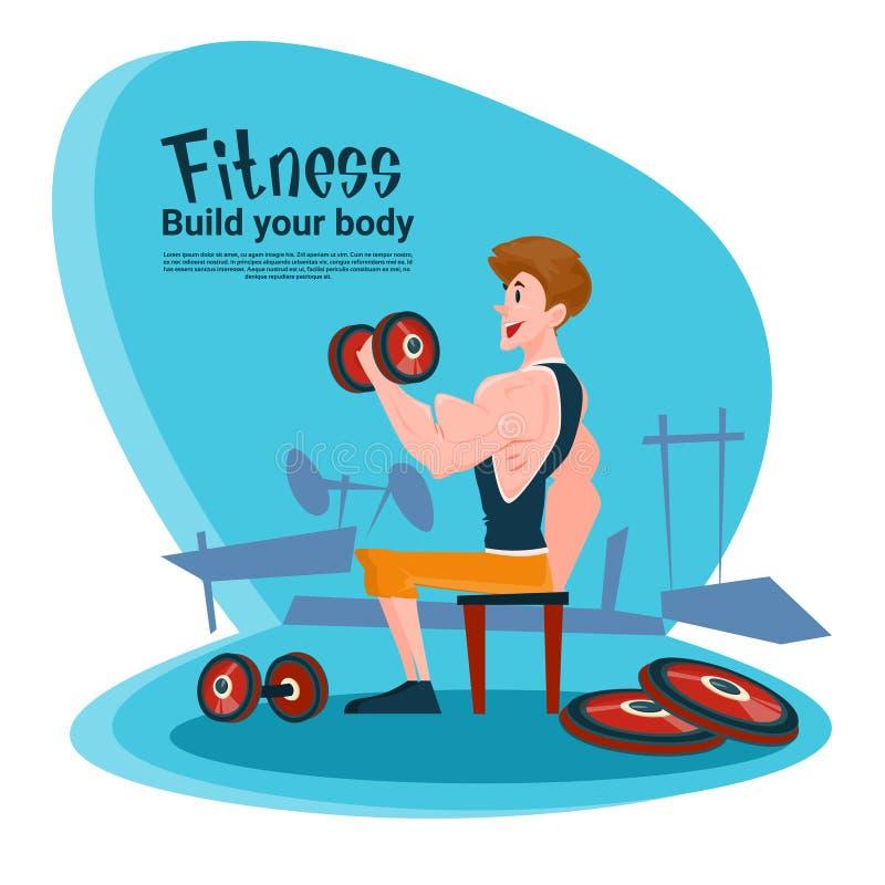 Palestra di allenamento di esercizio del bilanciere dell'uomo di forma fisica di sport illustrazione di stock