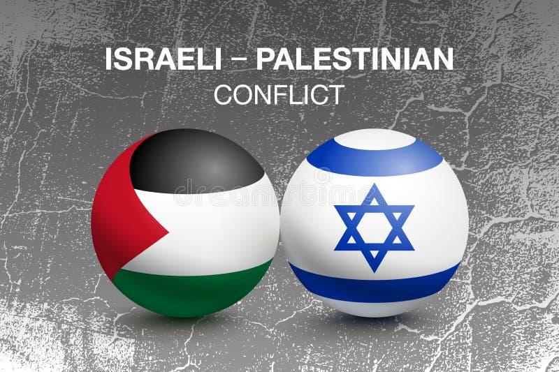 Palestyna i Izrael flagi w postaci piłki ilustracja wektor
