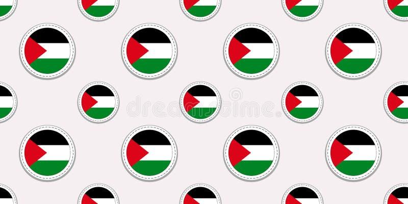 Palestyna round flagi bezszwowy wzór Palestyński tło Wektorowe okrąg ikony Geometryczni symbole patriotyczna tapeta royalty ilustracja