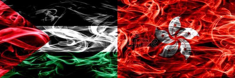 Palestyna vs Hong Kong, Chiny dymu flaga umieszczająca strona strona - obok - Gęste barwione silky dymne flagi palestyńczyk i Hon royalty ilustracja