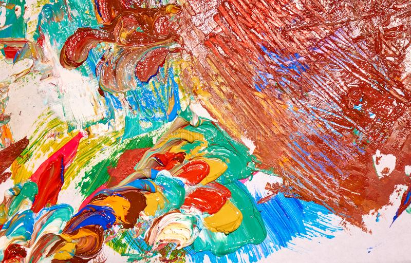 Palet door kleurrijke lagen van de abstracte textuur die van het verfclose-up wordt behandeld, backgrond stock foto's