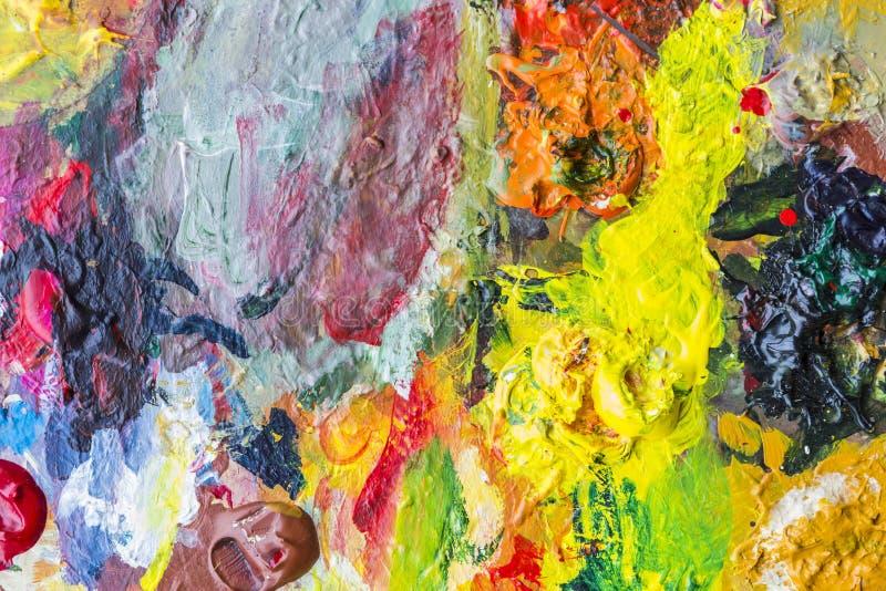 Paleta abstracta de la pintura acrílica de colorido, color de la mezcla, backgroun foto de archivo