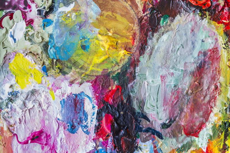 Paleta abstracta de la pintura acrílica de colorido, color de la mezcla, backgroun fotos de archivo libres de regalías