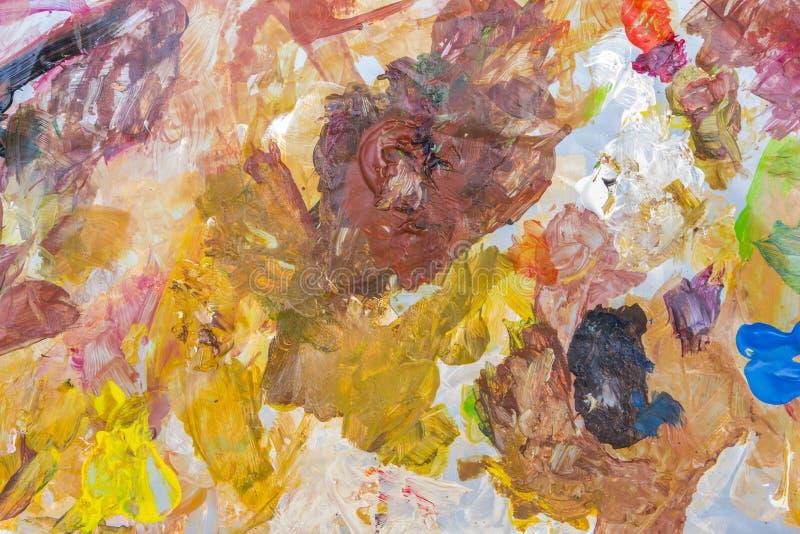 Paleta abstracta de la pintura acrílica de colorido, color de la mezcla, backgroun imagen de archivo