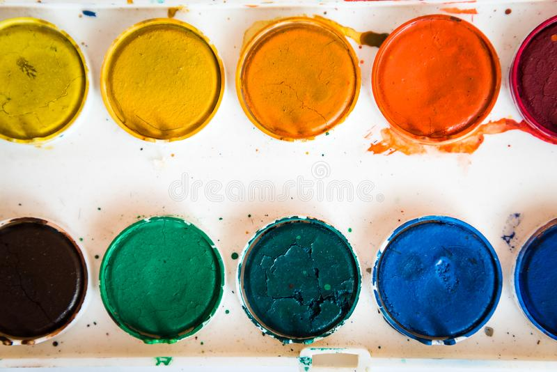 Paleta akwareli farba obraz stock