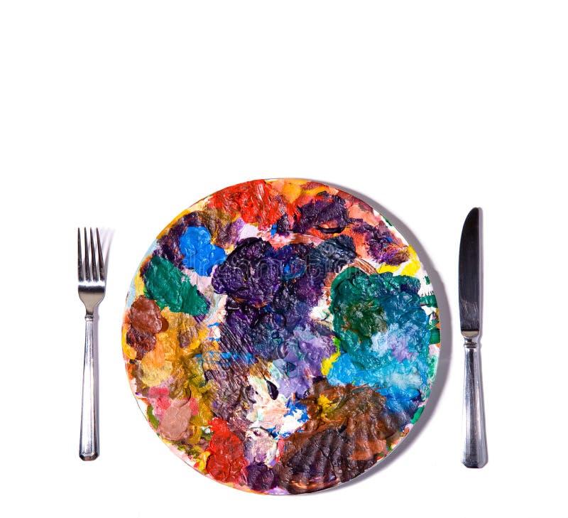 Paleta colorida da pintura com forquilha e faca. fotos de stock