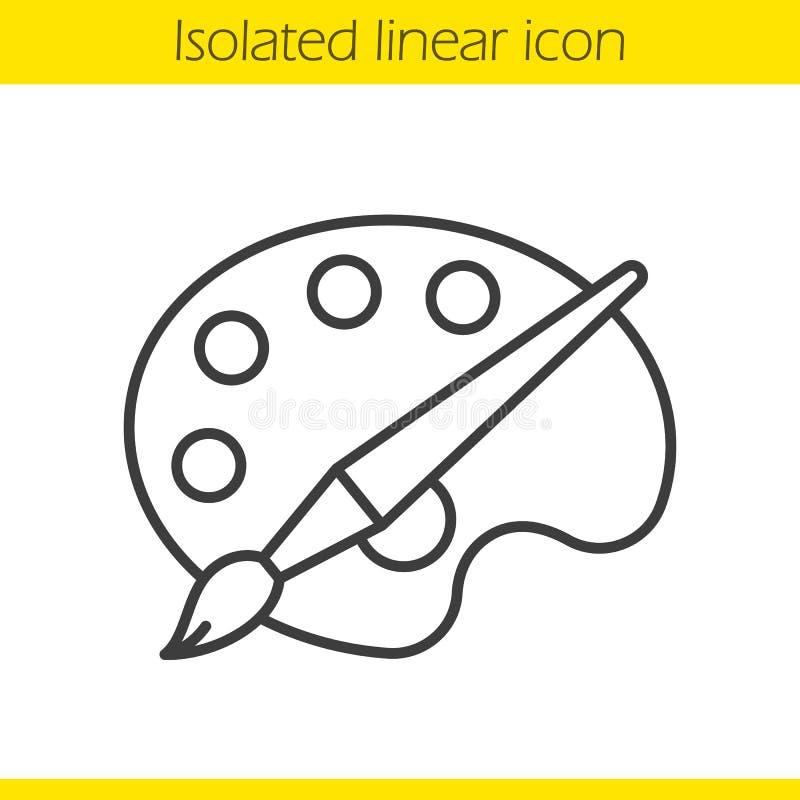 Paleta com ícone linear da escova ilustração stock