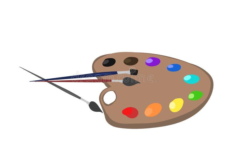 Paleta com escovas ilustração do vetor