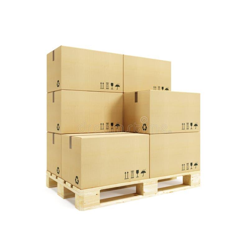 Paleta con las cajas de cartón imagen de archivo