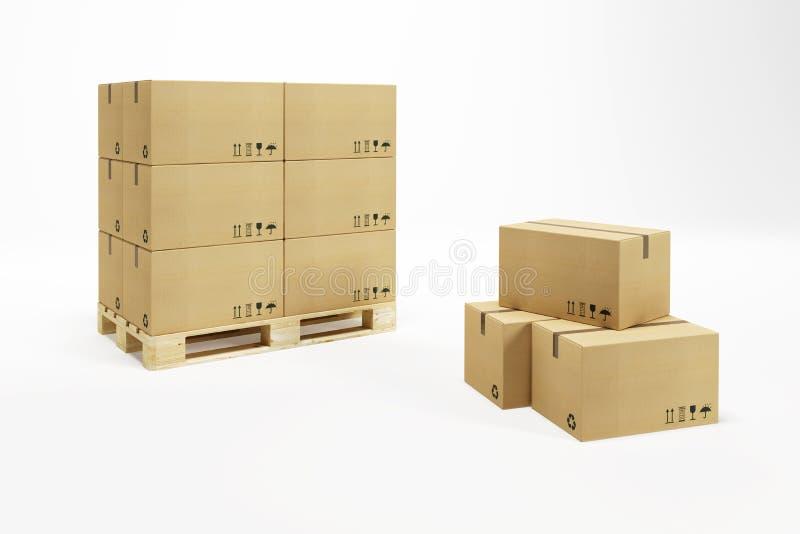 Paleta con las cajas de cartón stock de ilustración