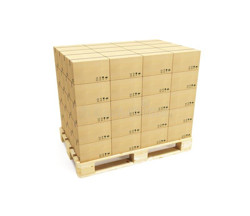 Paleta con las cajas de cartón libre illustration