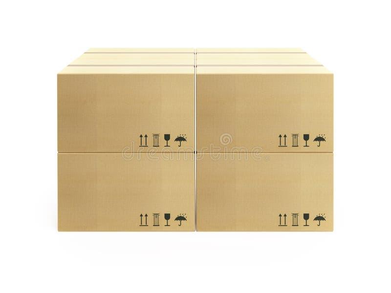 Paleta con las cajas de cartón foto de archivo libre de regalías