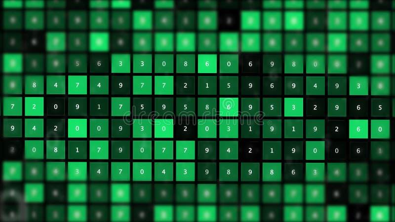 Paleta con muestras y números de pintura verde de las sombras ilustración del vector