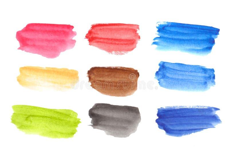 Paleta da aquarela com retângulos coloridos ilustração royalty free