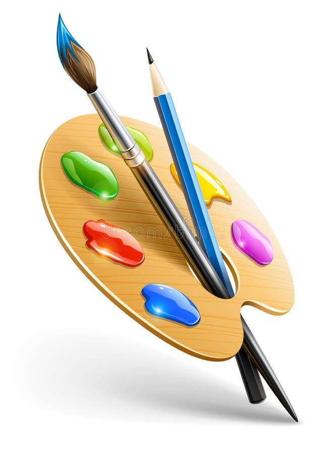 Paleta da arte com escova e lápis de pintura ilustração stock