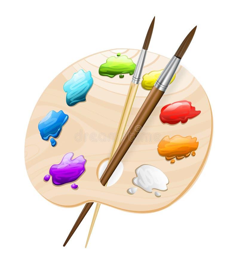 Paleta da arte com escovas ilustração do vetor