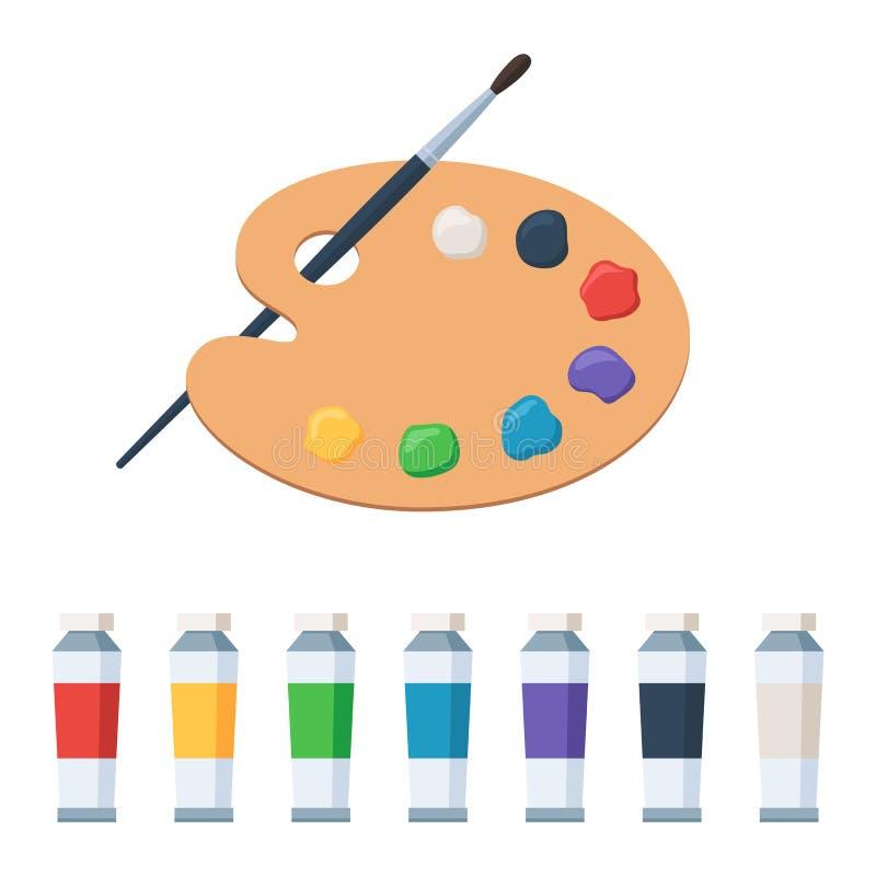 Paleta da arte com pinturas e pincel ilustração stock