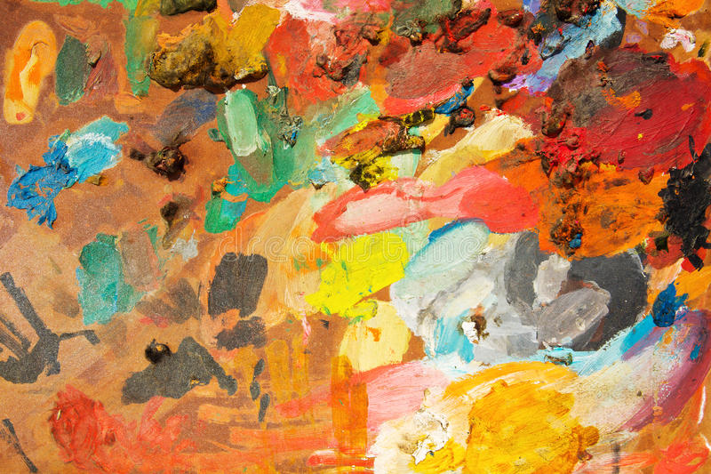 Paleta da pintura de petróleo imagens de stock