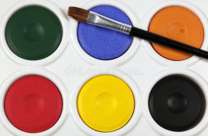 Paleta da pintura do Watercolour imagens de stock
