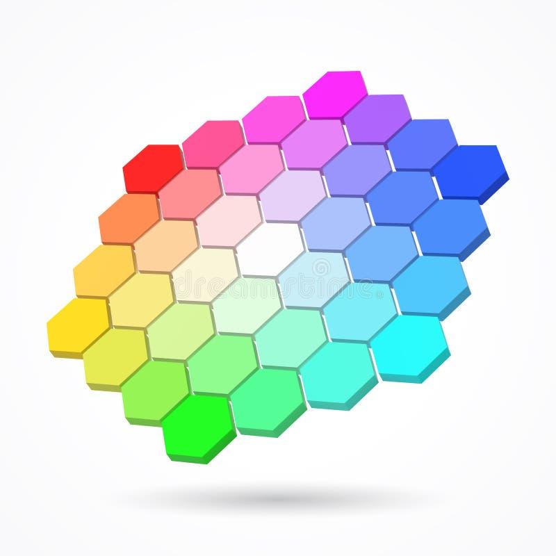 Paleta de colores hexagonal con pequeños hexágonos del color ejemplo del vector del estilo 3d stock de ilustración