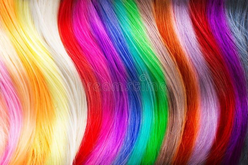 Paleta de cores do cabelo Cores tingidas do cabelo foto de stock royalty free