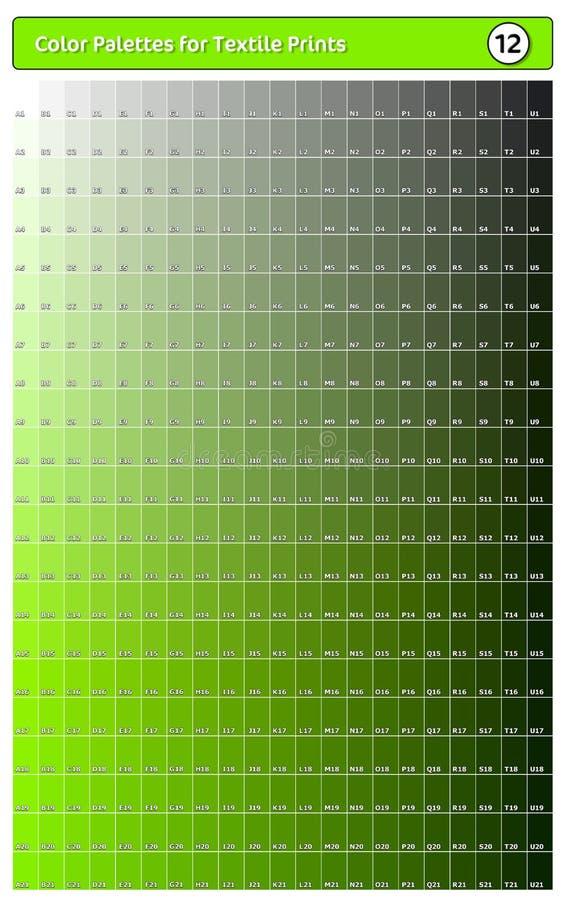 Paleta de cores para impressões têxteis - 12 Guia de cores de tendência de moda com amostras de pontas e sombras, compatível com  ilustração do vetor