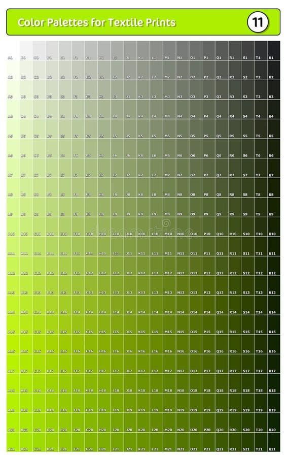 Paleta de cores para impressões têxteis - 11 Guia de cores de tendência de moda com amostras de pontas e sombras, compatível com  ilustração stock