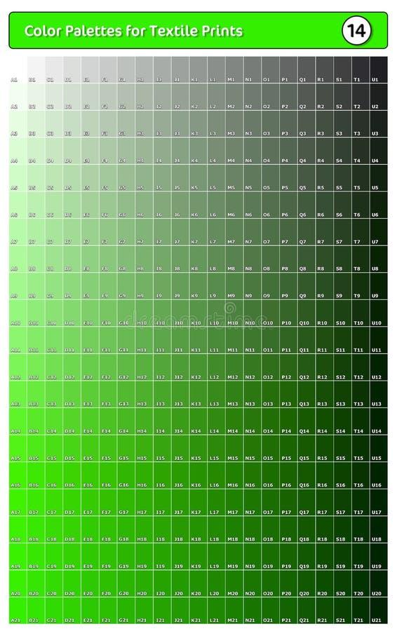 Paleta de cores para impressões têxteis - 14 Guia de cores de tendência de moda com amostras de pontas e sombras, compatível com  ilustração stock