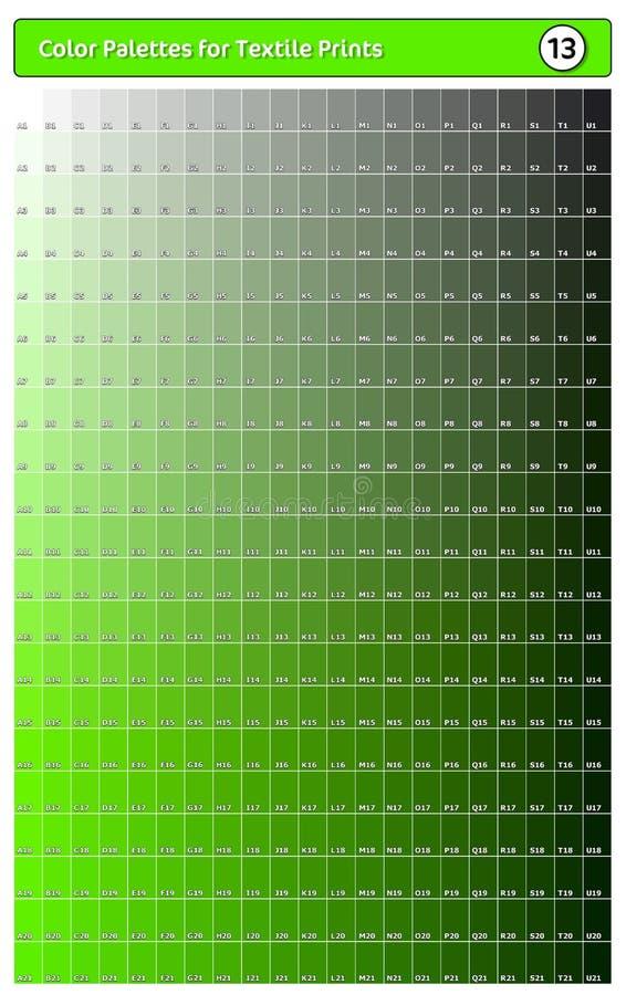 Paleta de cores para impressões têxteis - 13 Guia de cores de tendência de moda com amostras de pontas e sombras, compatível com  ilustração royalty free