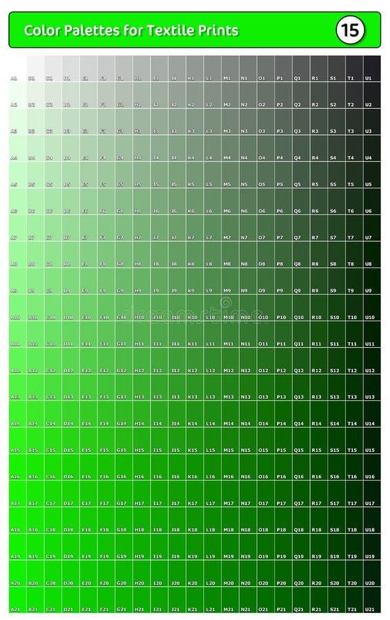 Paleta de cores para impressões têxteis - 15 Guia de cores de tendência de moda com amostras de pontas e sombras, compatível com  ilustração royalty free