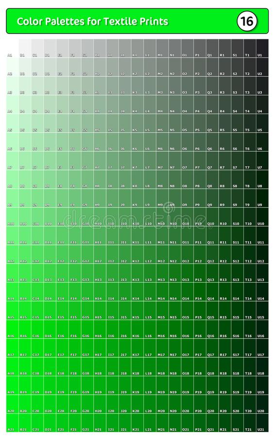Paleta de cores para impressões têxteis - 16 Guia de cores de tendência de moda com amostras de pontas e sombras, compatível com  ilustração royalty free