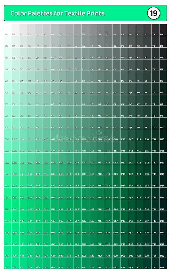 Paleta de cores para impressões têxteis - 19 Guia de cores de tendência de moda com amostras de pontas e sombras, compatível com  ilustração do vetor