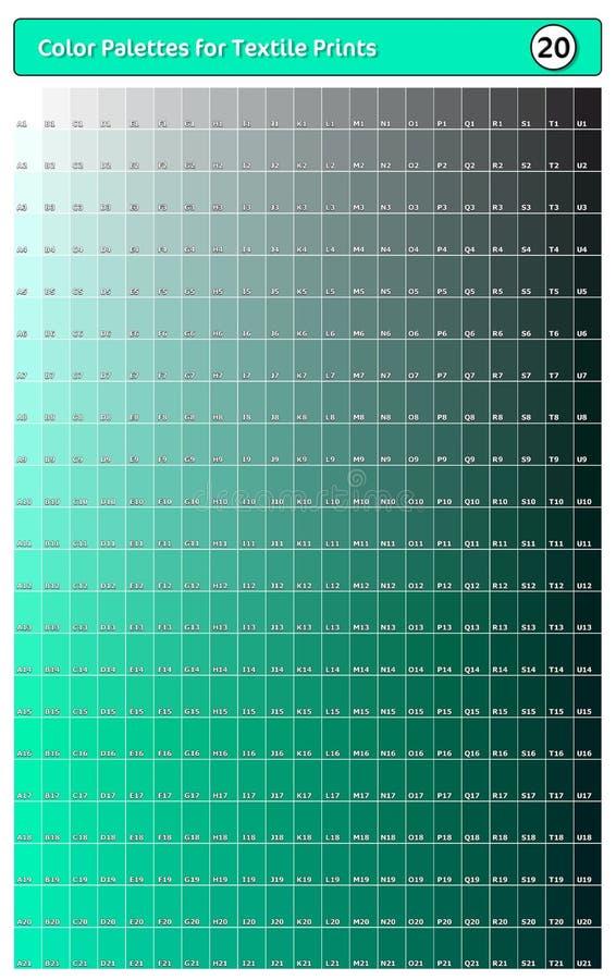 Paleta de cores para impressões têxteis - 20 Guia de cores de tendência de moda com amostras de pontas e sombras, compatível com  ilustração royalty free