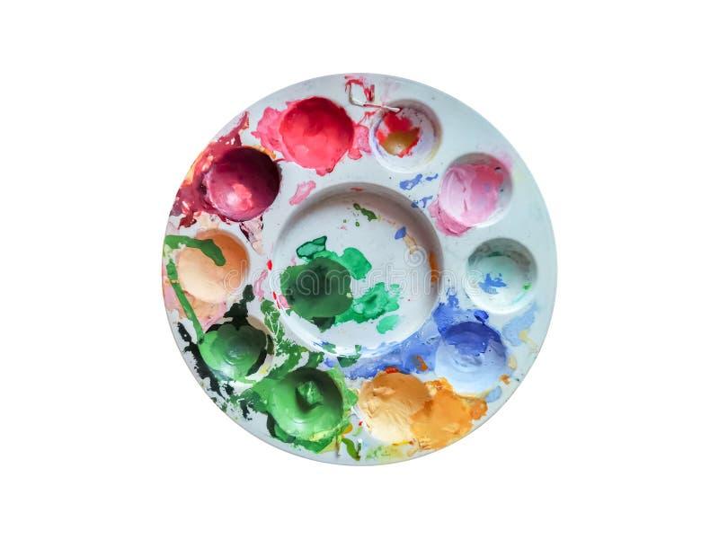 Paleta de cores suja da água com vermelho, verde, azul, laranja, cor-de-rosa isolada no fundo branco imagem de stock