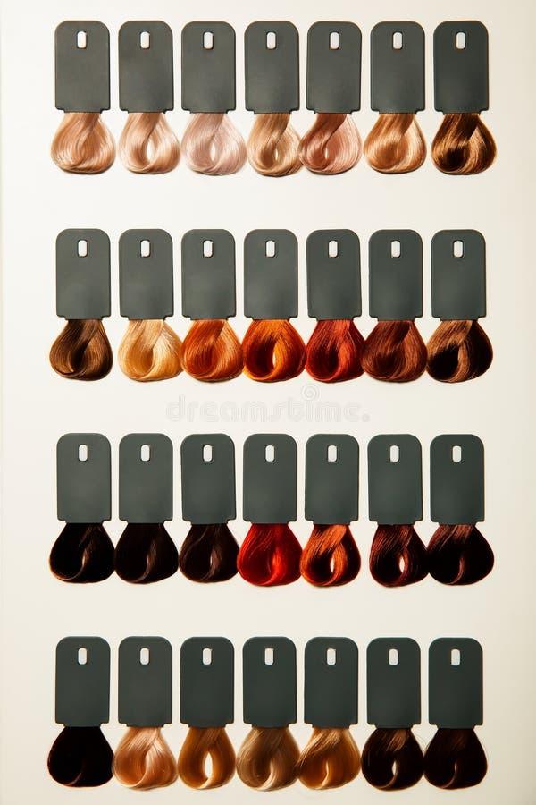 Paleta de diversos colores al tinte de pelo fotografía de archivo