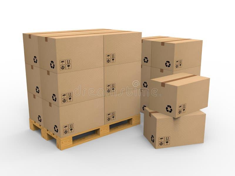 Paleta de madeira com as caixas de cartão no fundo branco ilustração 3D ilustração royalty free