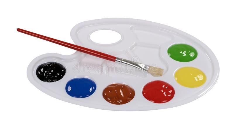 Paleta de mezcla de la pintura de la pintura con colores fotografía de archivo libre de regalías