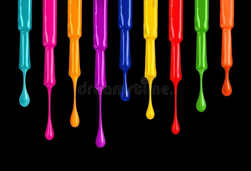 Paleta de vernizes para as unhas coloridos com gotas no fundo preto ilustração stock