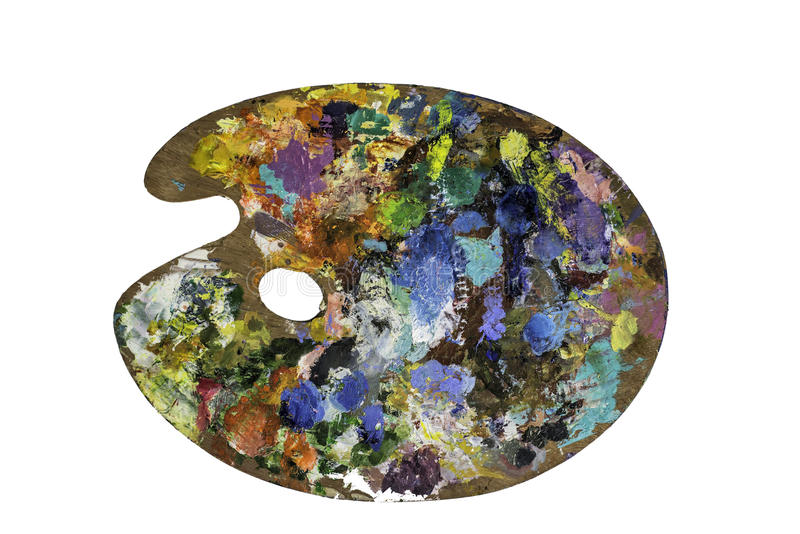 Paleta do artista com várias cores isolada sobre o fundo branco Com trajeto de grampeamento fotos de stock