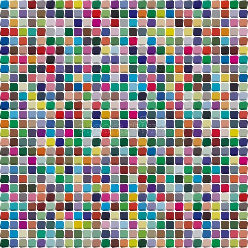 Paleta do vetor 484 cores diferentes dispersadas caoticamente em uma forma do quadrado expulso ilustração royalty free