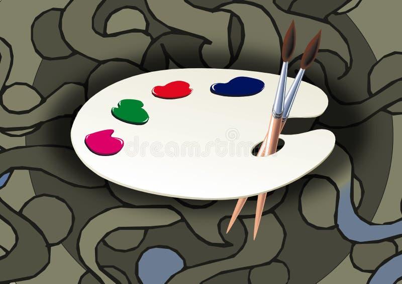 Paleta e escova ilustração do vetor