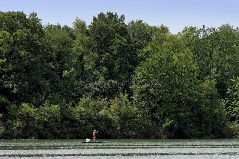 Paleta en río Sena fotos de archivo