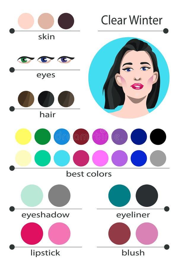 Paleta estacional del análisis de color del vector común para el invierno claro Los mejores colores del maquillaje para el tipo c stock de ilustración