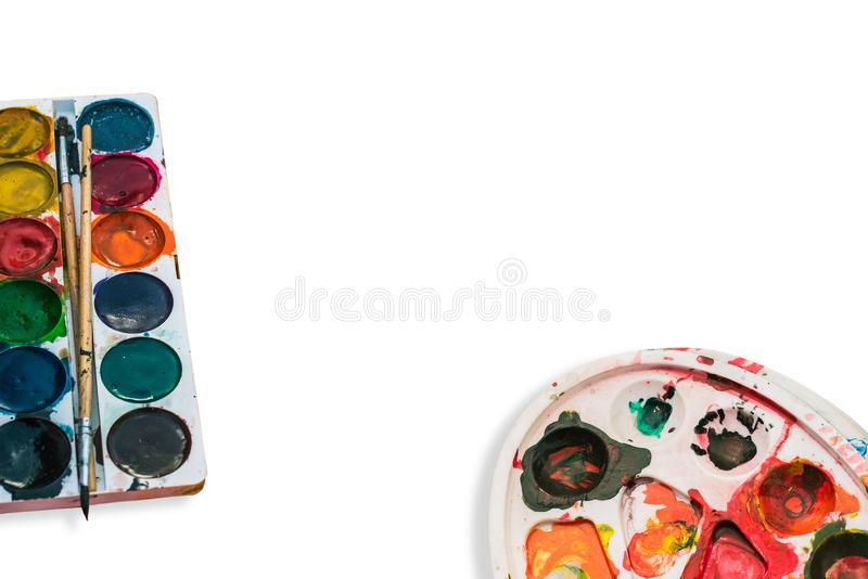 Paleta i farba dla rysować Akwareli paleta z mu?ni?ciami adobe korekcj wysokiego obrazu photoshop ilo?ci obraz cyfrowy prawdziwa  zdjęcia stock