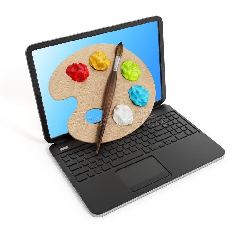Paleta, pinturas e pincel no laptop ilustração royalty free