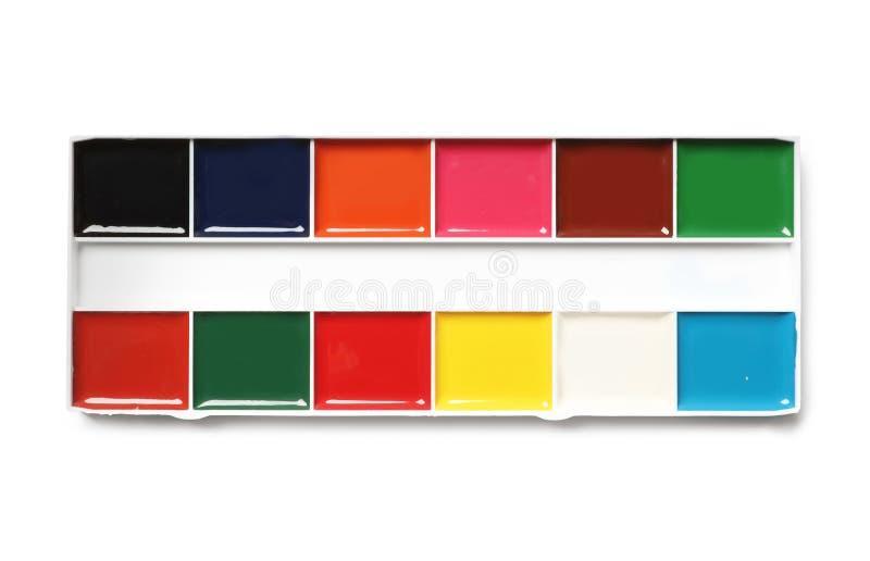 Paleta plástica da aquarela no fundo branco, vista superior fotografia de stock royalty free