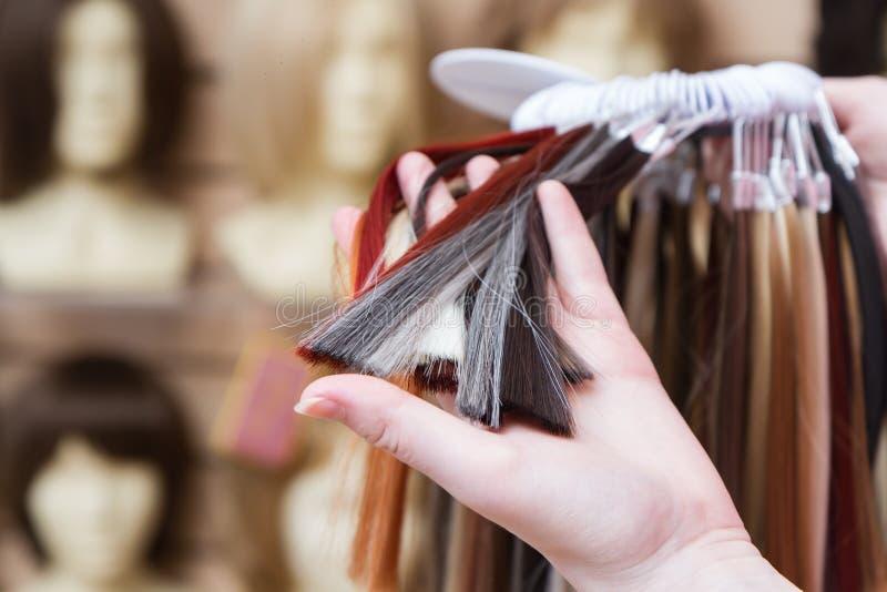 Paleta próbki barwiony włosy różnorodni cienie ręka młoda dziewczyna wybiera wzór włosiany kolor na fotografia royalty free