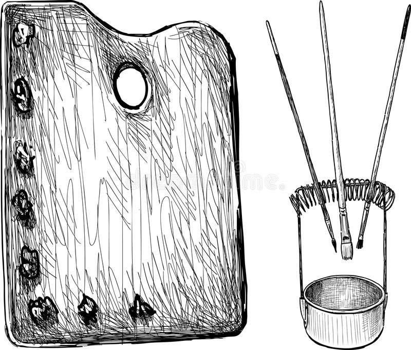 Paleta y cepillos libre illustration